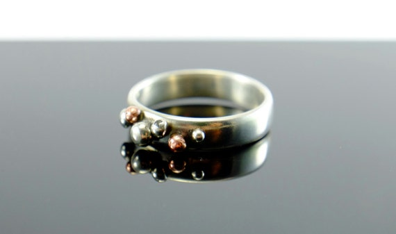 Fine silver ring with silver and copper