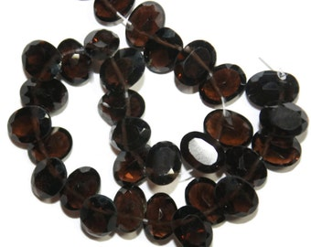 FURTHER REDUCED: Smokey quartz faceted ovals, top-drilled.  Approx.  5x6.5mm - 5x6.75mm.   Select a quantity.