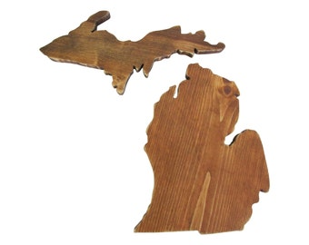 Michigan State and Upper Peninsula State Cut Out Wooden State Shape Wall Decor Rustic Chic Alternative Wedding Guest Book Housewarming Gift