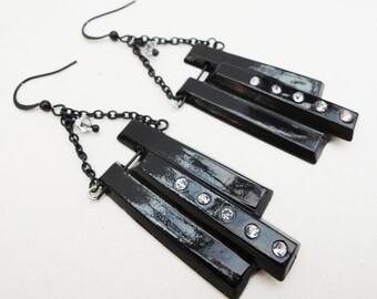 Black Pendant Dangle Earrings Handmade by Lindsey - Argent Silver Swarovski Crystals - Black Cord Chain - Halloween - Christmas