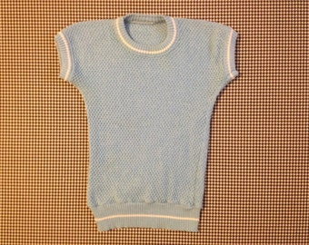 1970's, short sleeve sweater, in baby blue, Women size Small/XS