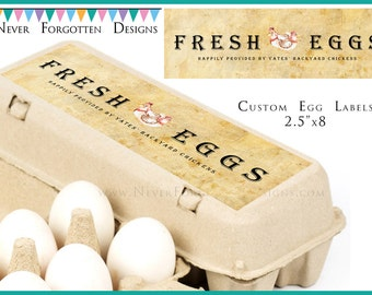"""2.5"""" x 8"""" Egg Carton Labels, Customized Label Perfect for Chicken Coop for Backyard Chickens"""