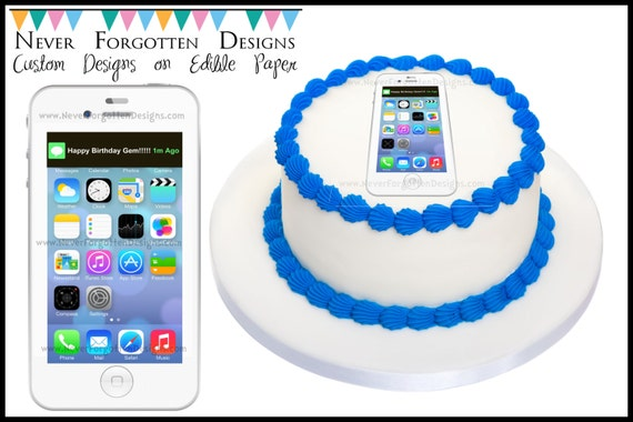 Edible Cake Images Iphone : iphone Cake Cookie Cupcake Topper on Edible Frosting Paper