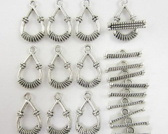 10pairs Toggle/Clasp Teardrop Dots Silver Plated (F1705)