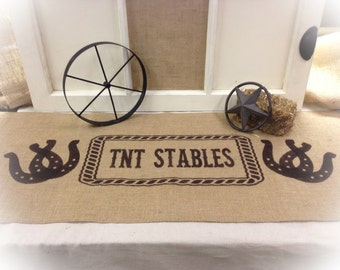 """Burlap Table Runner 12"""", 14"""" or 15"""" wide with Horseshoes & custom Name in center of Rope -longer lengths - Western theme decor Country decor"""
