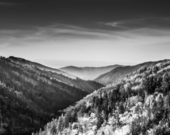 Smoky Mountain photography - mountain wall art - Winter - Mountains - Black and White Photography