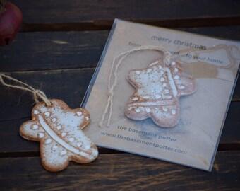 stoneware christmas ornament - gingerbread man