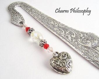 Heart Bookmark - Red Beaded Tibetan Silver Charm Bookmark - Romantic Gifts - Ornate Filigree Heart Bookmark
