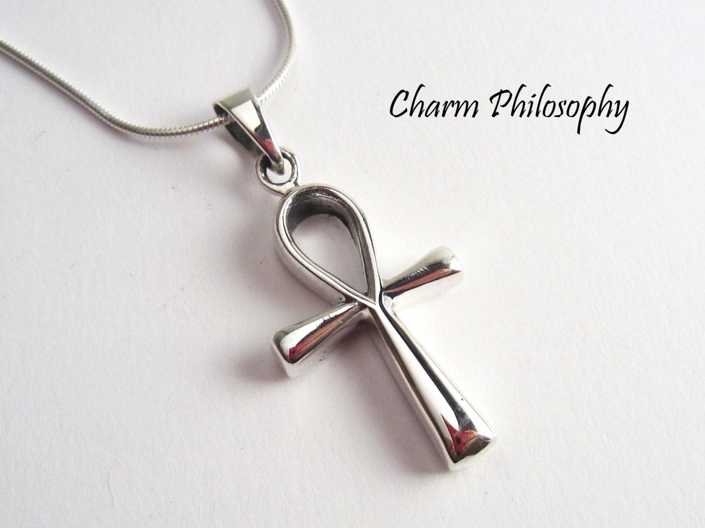 sterling silver ankh necklace by charmphilosophy