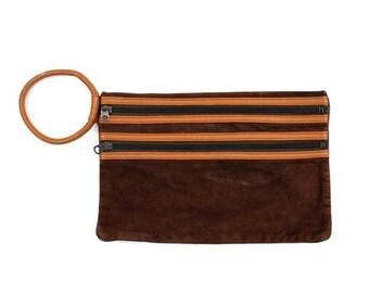 brown suede clutch purse / leather wristlet bag / retro 1970s 1980s purse