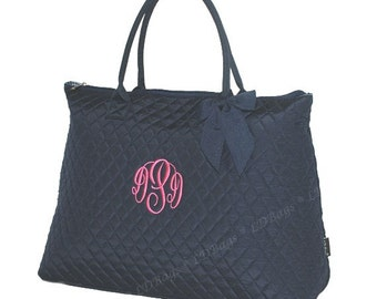 Quilted Navy Tote Bag, Quilted Bag, Large Tote Bag, Bridesmaid Gift, Monogram Bridesmaid,  Personalized quilted Tote Bag18""