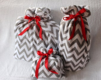 Christmas Gift Bag Collection of 3 Gray and White Chevron 3 Fabric Bags