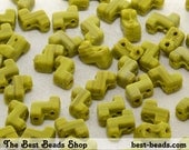 30pcs Striped Olive Green Double Hole Zorro Beads 6x5mm