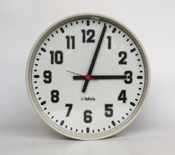 Vintage Industrial Wall Clock School Clock 80 S