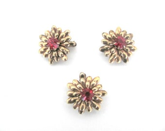 Vintage Flower Brooch, Pin, 1950's Lustern Gold, Red Flower Scatter Pins, 1950's Brooch, Jewelry