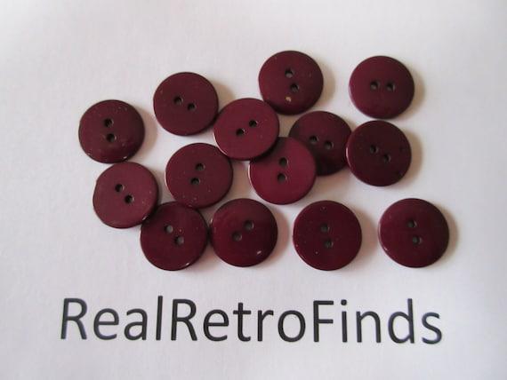 lot of 30 flat dark burgundy buttons diameter 3/4 inch   18mm (bu101)