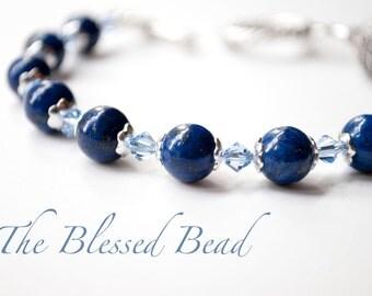 Saint John Baptist de la Salle Rosary Bracelet, Patron of Educators, Teacher Gifts, Confirmation Gifts, Catholic Jewelry, Lapis Rosaries