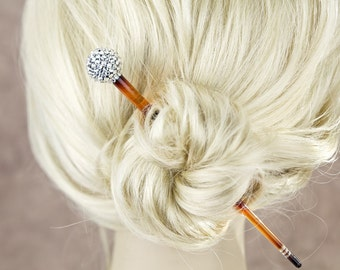 Crystal ball Hair stick, Black hair stick with Swarovski elements crystal, long plastic hair pin for bun