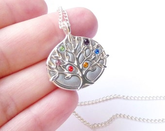 Personalized Family tree necklace Birthstone Family tree jewelry Best mom gift - birthstone Family necklace Family tree jewelry mom necklace