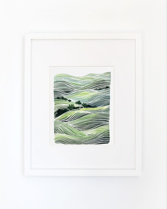 Landscape of Rolling Hills - Watercolor Archival Print