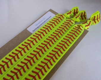 Softball headbands, set of elastic headbands, yellow foldover elastic with red laces print, stretch headband, adult size, workout, fastpitch