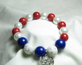 4th of July, Red White and Blue Bracelet