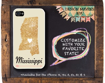 Mississippi iPhone Case, Personalized State Love iPhone Case, Fits iPhone 4,  iPhone 5, iPhone 5s, iPhone 5c, iPhone 6, NOT REAL GLITTER