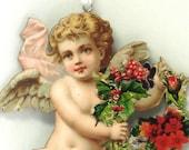 Victorian Christmas Ornament, Sweet Cherub Bearing a Gift of Christmas Wreath