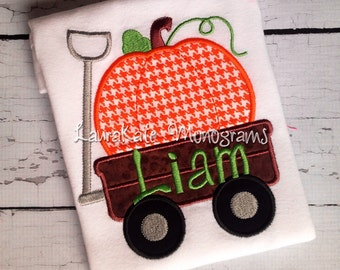 Personalized Pumpkin Wagon appliqué shirt, Thanksgiving, fall, boy, shirt, bodysuit
