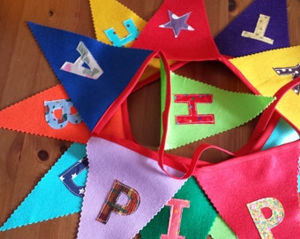 Happy Birthday Felt Bunting / Banner- Zig Zag Edges -Fabric Letters 23 cm Flags New