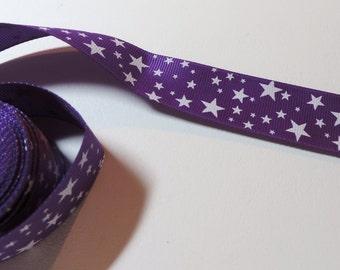 Purple star pattern hair bow ribbon - 5 yards