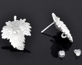 Silver Leaf Earring   Post  Earrings, Silver Plated Findings, Loop and post earrings Supplies 2 pairs