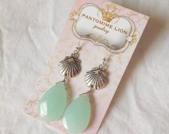 Chalcedony Silver Shell Earrings