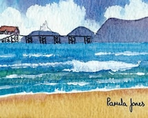 ACEO Original watercolour Mumbles Swansea Wales  miniature painting Gift Art and Collectables