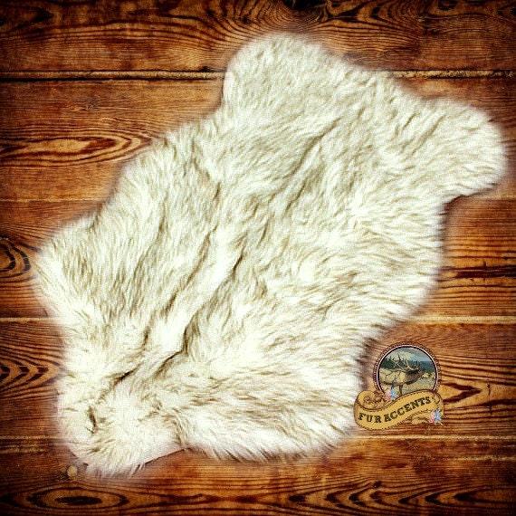 FUR ACCENTS Faux Fur Bear Skin Pelt Rug / Shaggy / Arctic