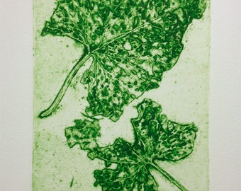 Autumn I - leaf collagraph print
