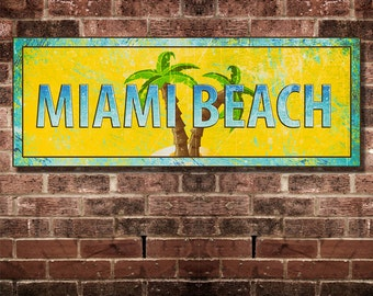 Miami Chec Retro Miami Beach Print 16 by 6 inches Mounted and Ready To Hang. Free Ship