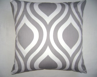 Abstract Grey Pillow Cover, Abstract White Pillow Cover, 16''x16'' Geometric Grey/White Pillow Cover