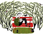 Girl sitting on red bench surrounded by leaves and birds