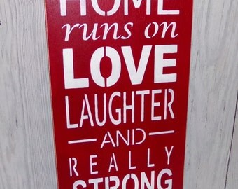 This Home Runs on Love Laughter And Really Strong Coffee, Coffee Sign, Red Kitchen Decor, Kitchen Sign, Coffee Decor