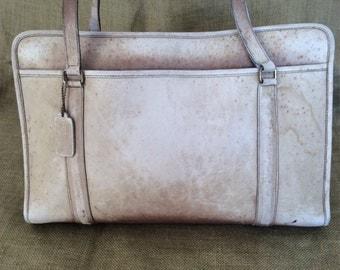 Large vintage COACH beige leather shopping tote bag business bag