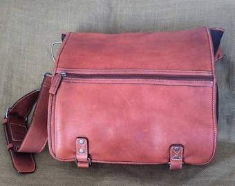 Vintage tan brown leather and canvas messenger bag crossbody