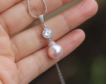 blush pink necklace pink bridal necklace bridesmaid necklace wedding drop necklace