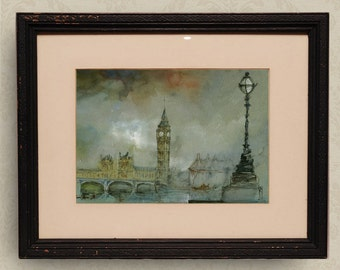 PRINT-London westminster palace big ben cityscape watercolor print   architecture cityscape  - Art Print by Juan Bosco
