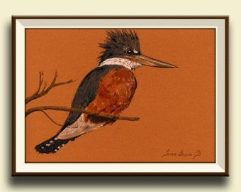 PRINT-Belted kingfisher bird watercolor print kingfisher art wall bird-Art Print by Juan Bosco