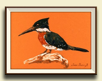 PRINT-Green kingfisher bird watercolor print kingfisher art wall bird - Art Print by Juan Bosco