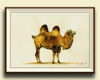 PRINT-Camel bactrian desert animal - camel art wall decor-  Art Print by Juan Bosco