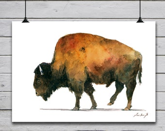 POSTER PRINT - Buffalo Bison- American Buffalo - American Bison - wild animal poster print -by Juan Bosco