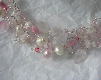 "LovingKindness"" -  crochet wire necklace with Rose Quartz"