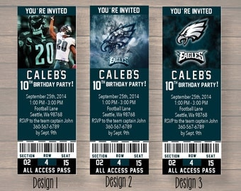 philadelphia eagles, Custom Party Ticket Invitations, Birthday Invitation, philadelphia eagles Birthday Ticket, digital file